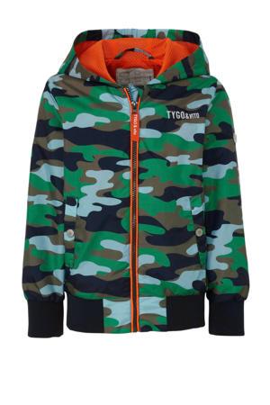 zomerjas met camouflageprint blauw/groen/zwart