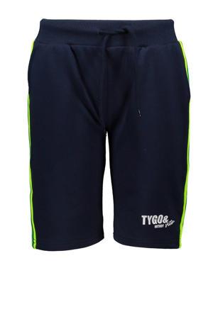 regular fit sweatshort donkerblauw/geel/wit