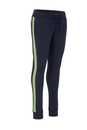 regular fit broek donkerblauw/geel/wit
