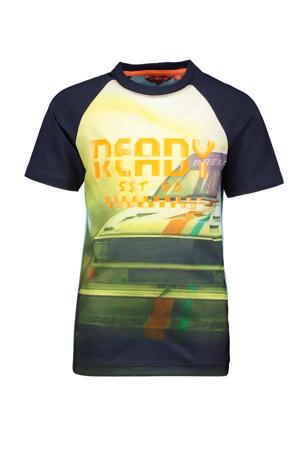 TYGO & vito T-shirt met printopdruk donkerblauw/oranje, Donkerblauw/oranje