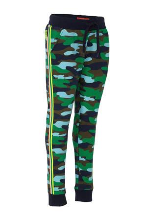 regular fit broek met zijstreep donkerblauw/blauw/groen