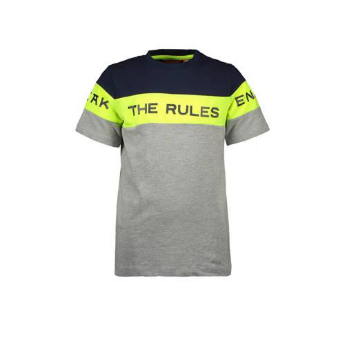TYGO & vito T-shirt met tekst grijs/geel/donke