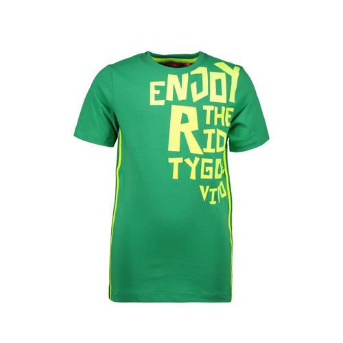 TYGO & vito T-shirt met tekst groen/geel