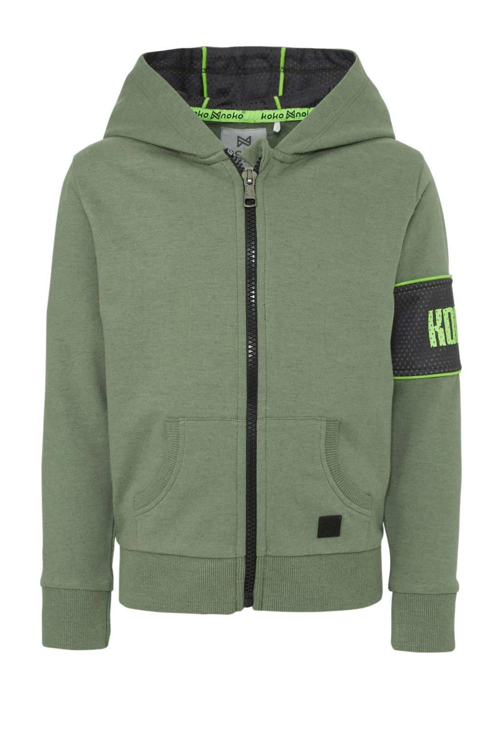 Koko Noko vest donkergroen/zwart/groen, Donkergroen/zwart/groen