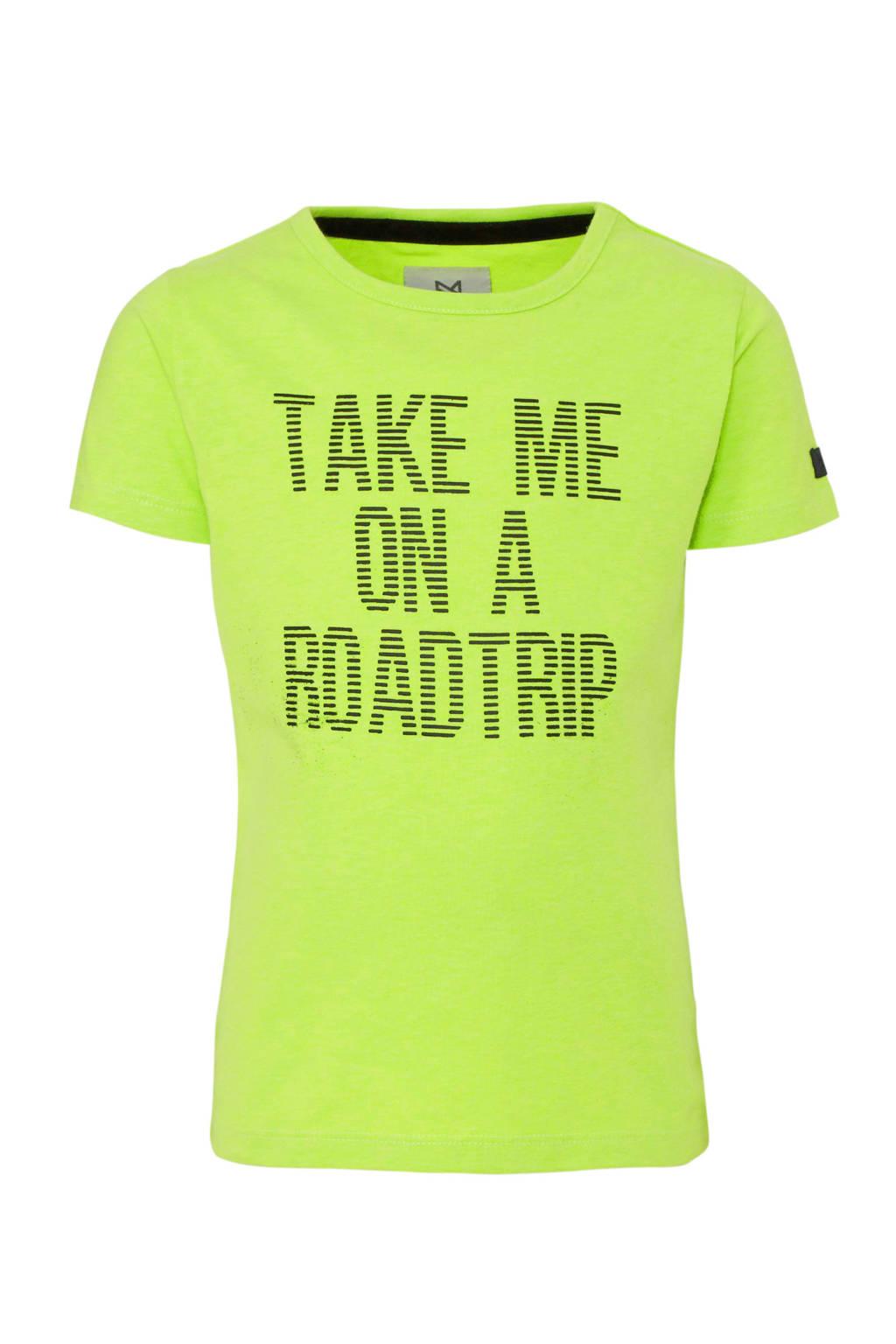Koko Noko T-shirt met tekst neon geel/zwart, Neon geel/zwart