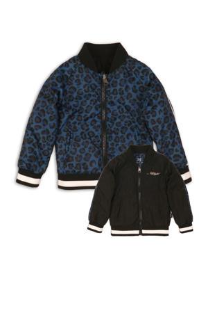 reversible zomerjas met panterprint zwart/blauw
