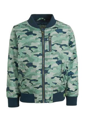 zomerjas met camouflageprint groen/donkerblauw