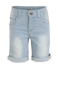 Koko Noko gestreepte jeans bermuda light denim, Light denim