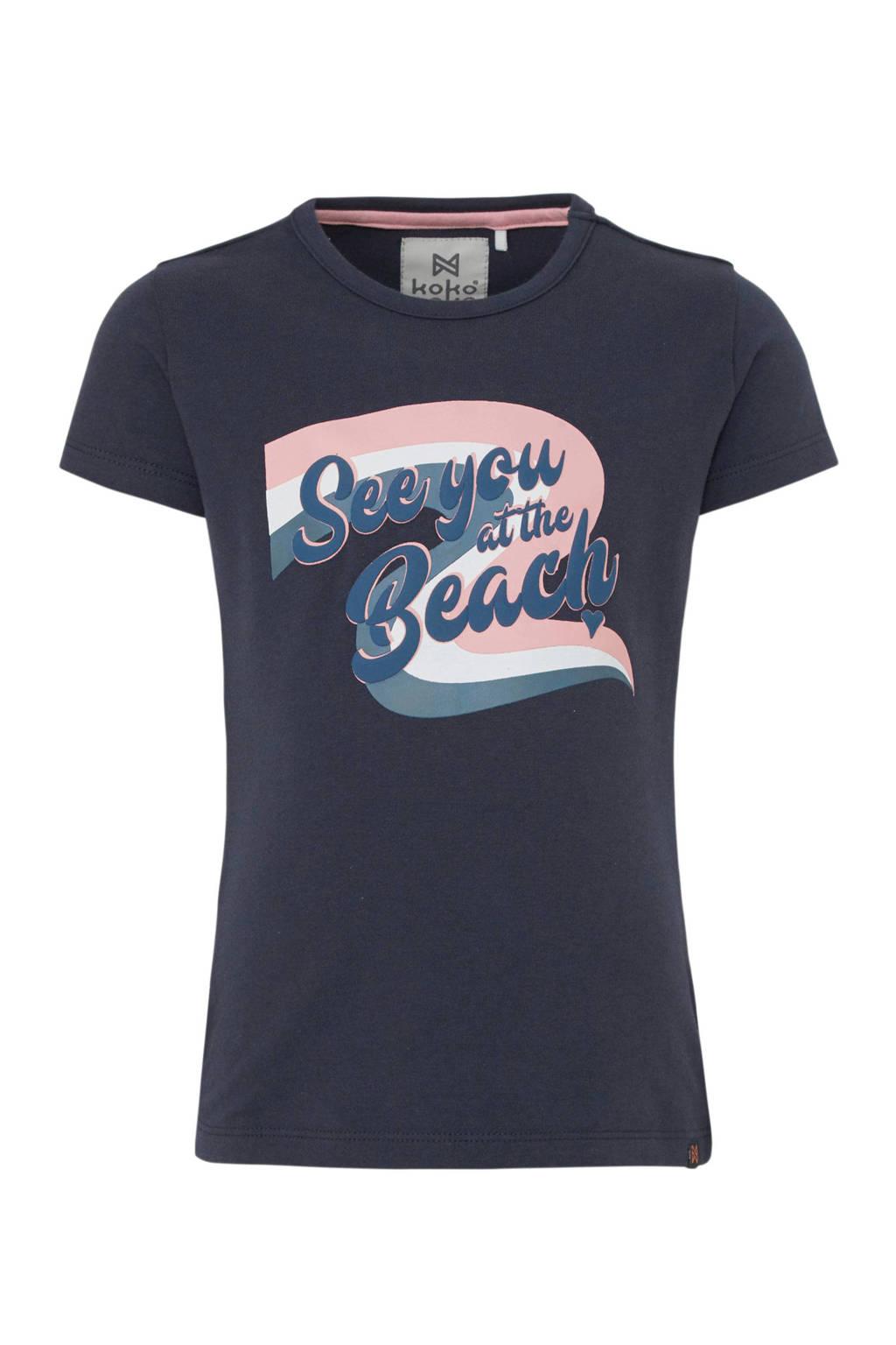 Koko Noko T-shirt met printopdruk antraciet/blauw/lichtroze, Antraciet/blauw/lichtroze