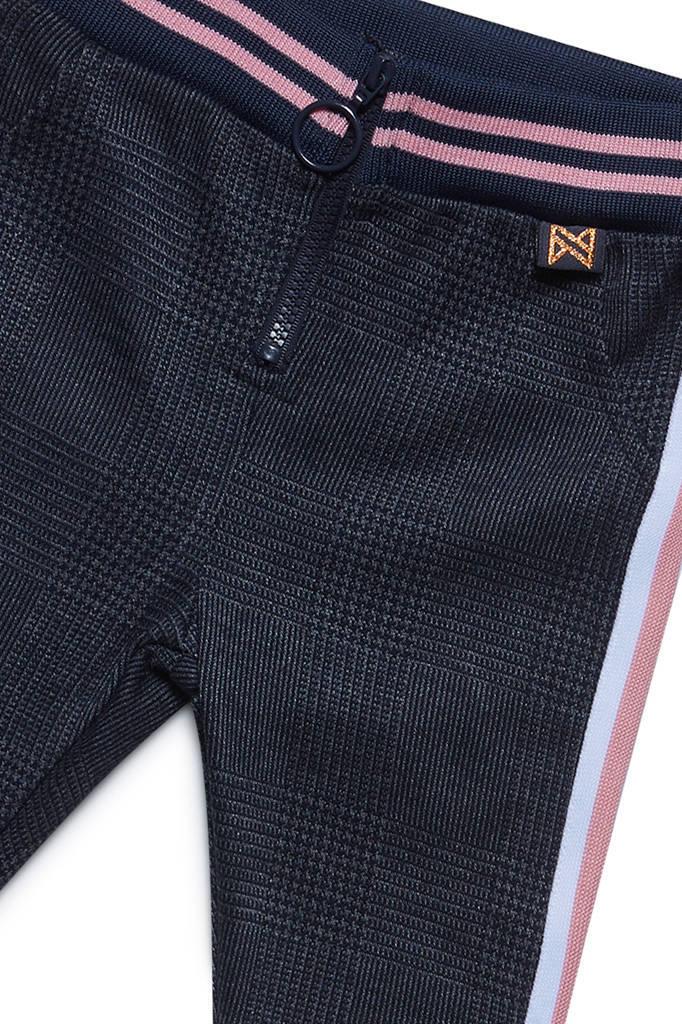 Koko Noko geruite broek met zijstreep antracietdonkerblauw