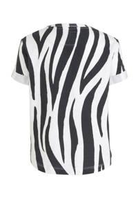 Koko Noko T-shirt met zebraprint antraciet/wit, Antraciet/wit