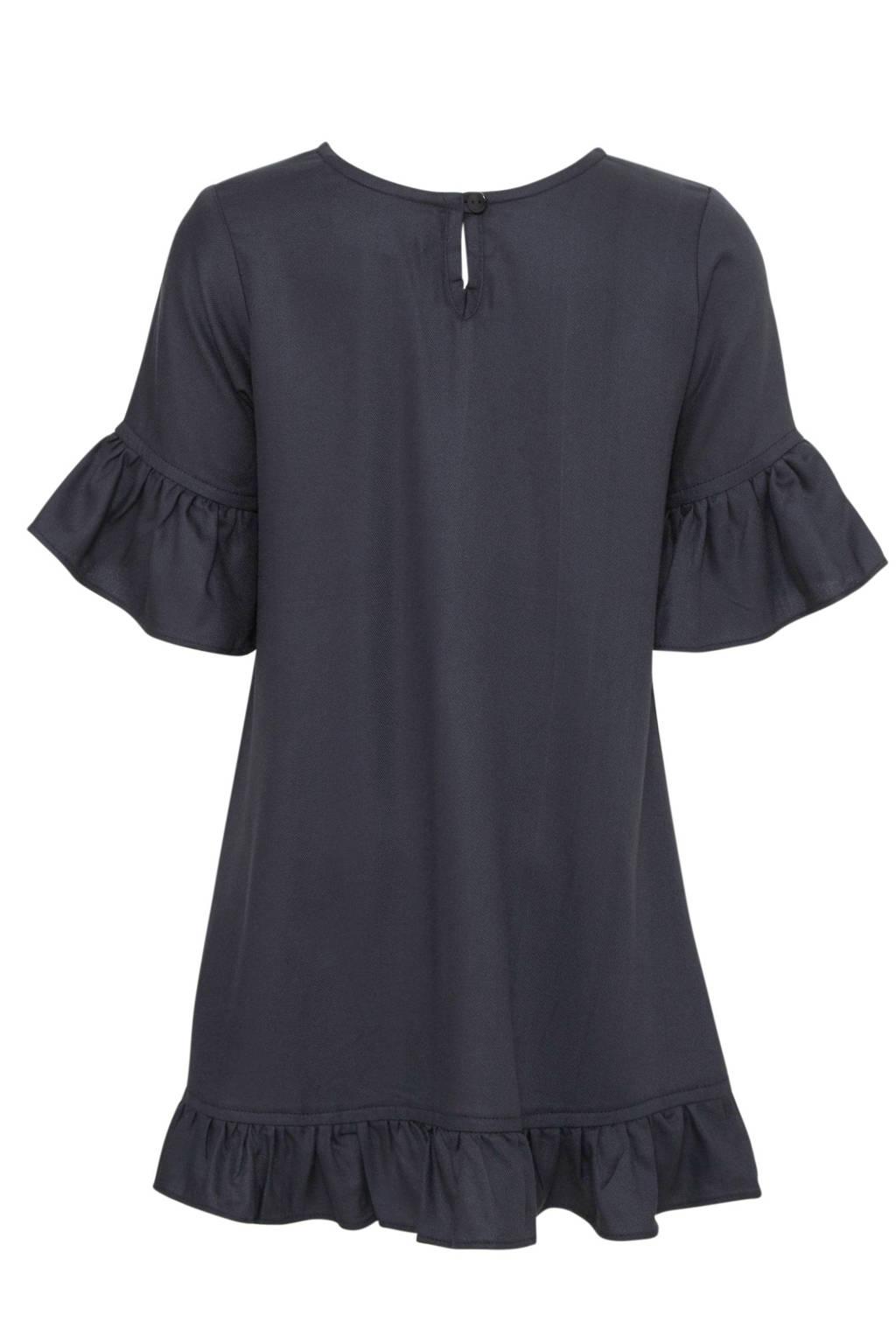 Koko Noko jurk met borduursels donkerblauw/goud, Donkerblauw/goud