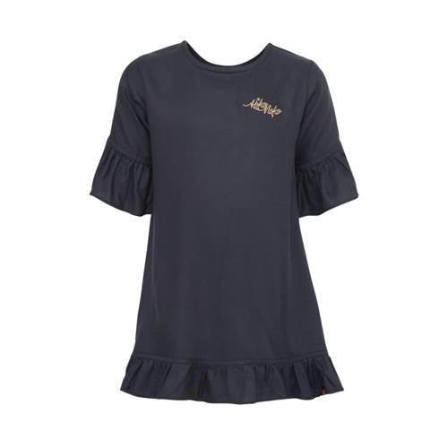 Koko Noko jurk met borduursels donkerblauw/goud