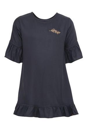 jurk met borduursels donkerblauw/goud