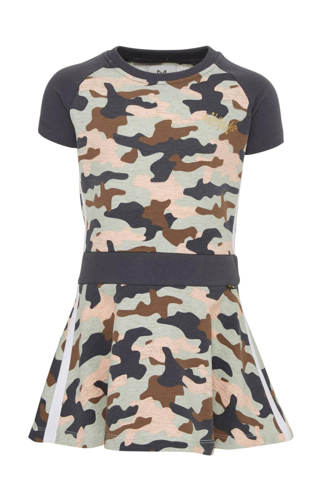 Koko Noko jersey jurk met camouflageprint antraciet/bruin/mintgroen, Antraciet/bruin/mintgroen