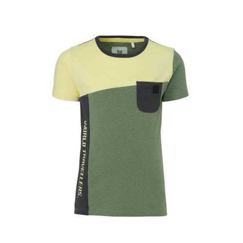 Koko Noko T-shirt groen/lichtgeel/antraciet