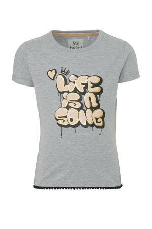 T-shirt met tekst grijs/lichtroze/zwart
