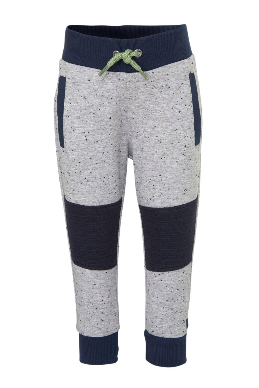 Koko Noko broek met textuur grijs melange/donkerblauw/groen, Grijs melange/donkerblauw/groen