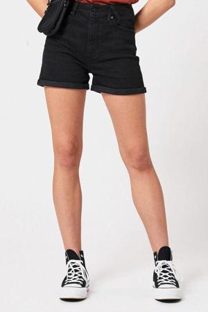 high waist jeans short zwart