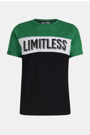 T-shirt Nylan met tekst zwart/wit/groen