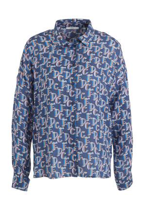 blouse CORE Fluent S-V met all over print blauw/multi