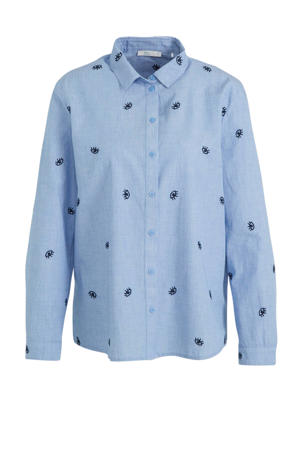 blouse OCS Chambray met all over print blauw