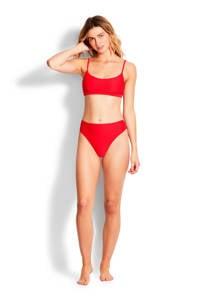 Seafolly crop bikinitop met rib textuur rood, Rood