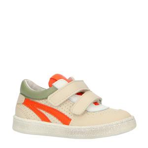 leren sneakers beige/oranje