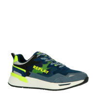 REPLAY Making  suède sneakers blauw/neon geel, Blauw/geel
