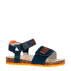 Aburdees  suède sandalen blauw/oranje
