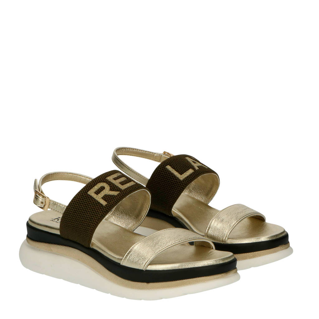 REPLAY Artwood  plateau sandalen goud/kaki, Goud/kaki