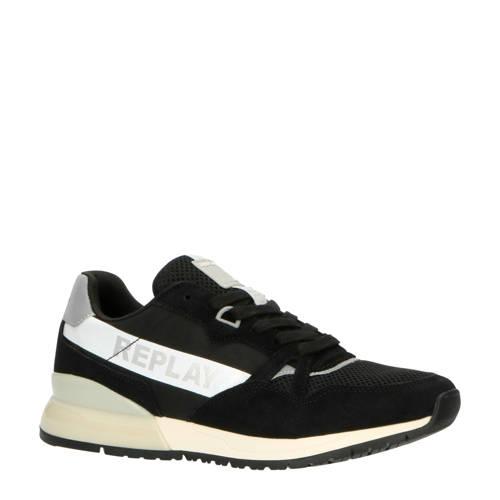 REPLAY Carwash su??de sneakers zwart