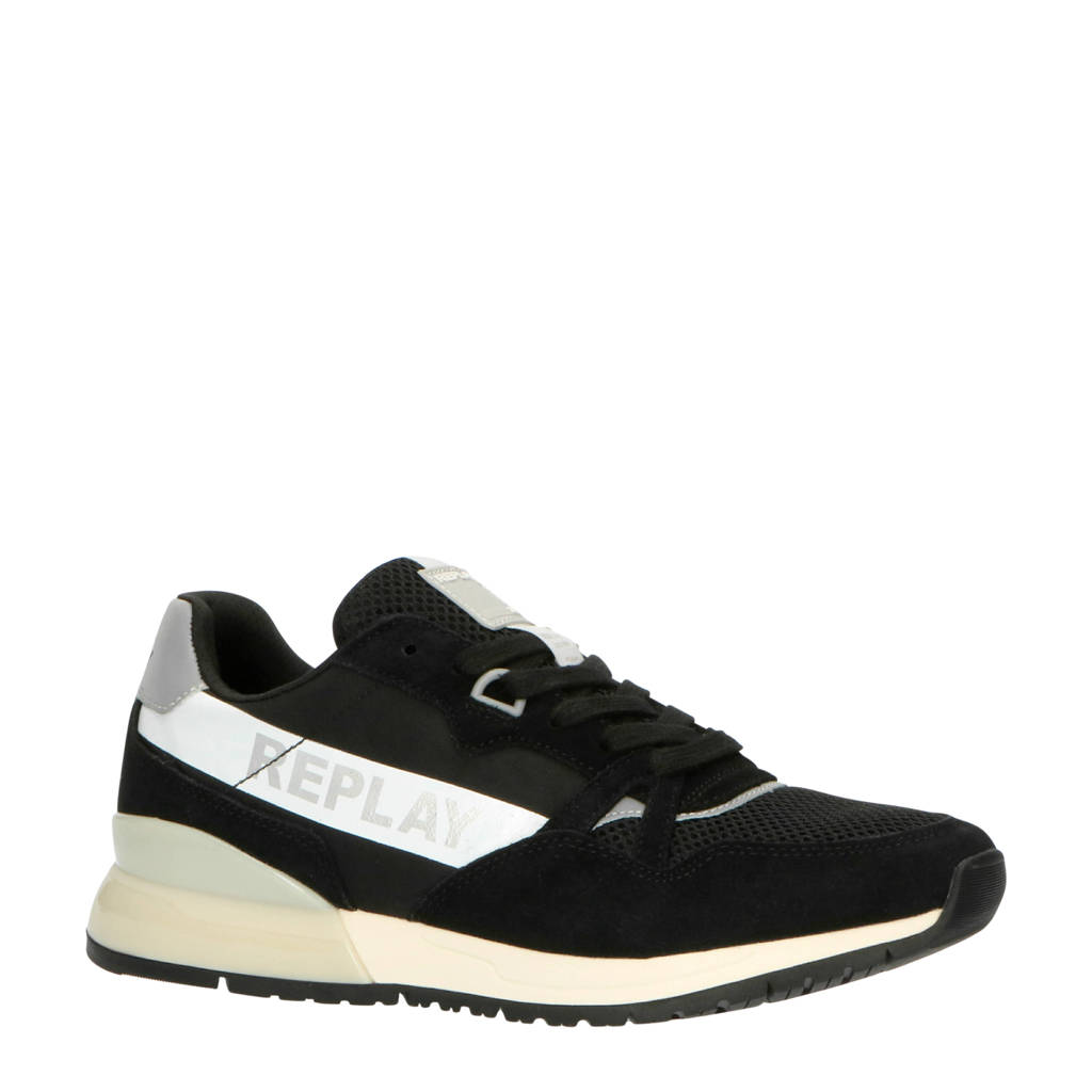 REPLAY Carwash  suède sneakers zwart, Zwart