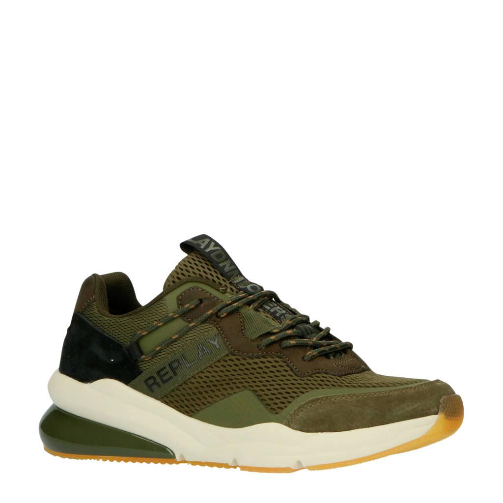 REPLAY Blinman  suède sneakers groen, Groen/zwart