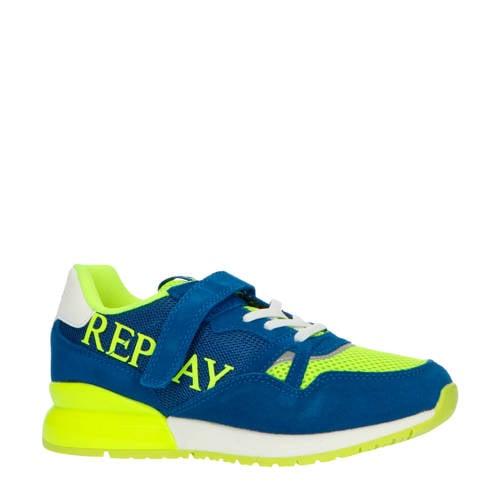 REPLAY Cardiff su??de sneakers blauw/geel