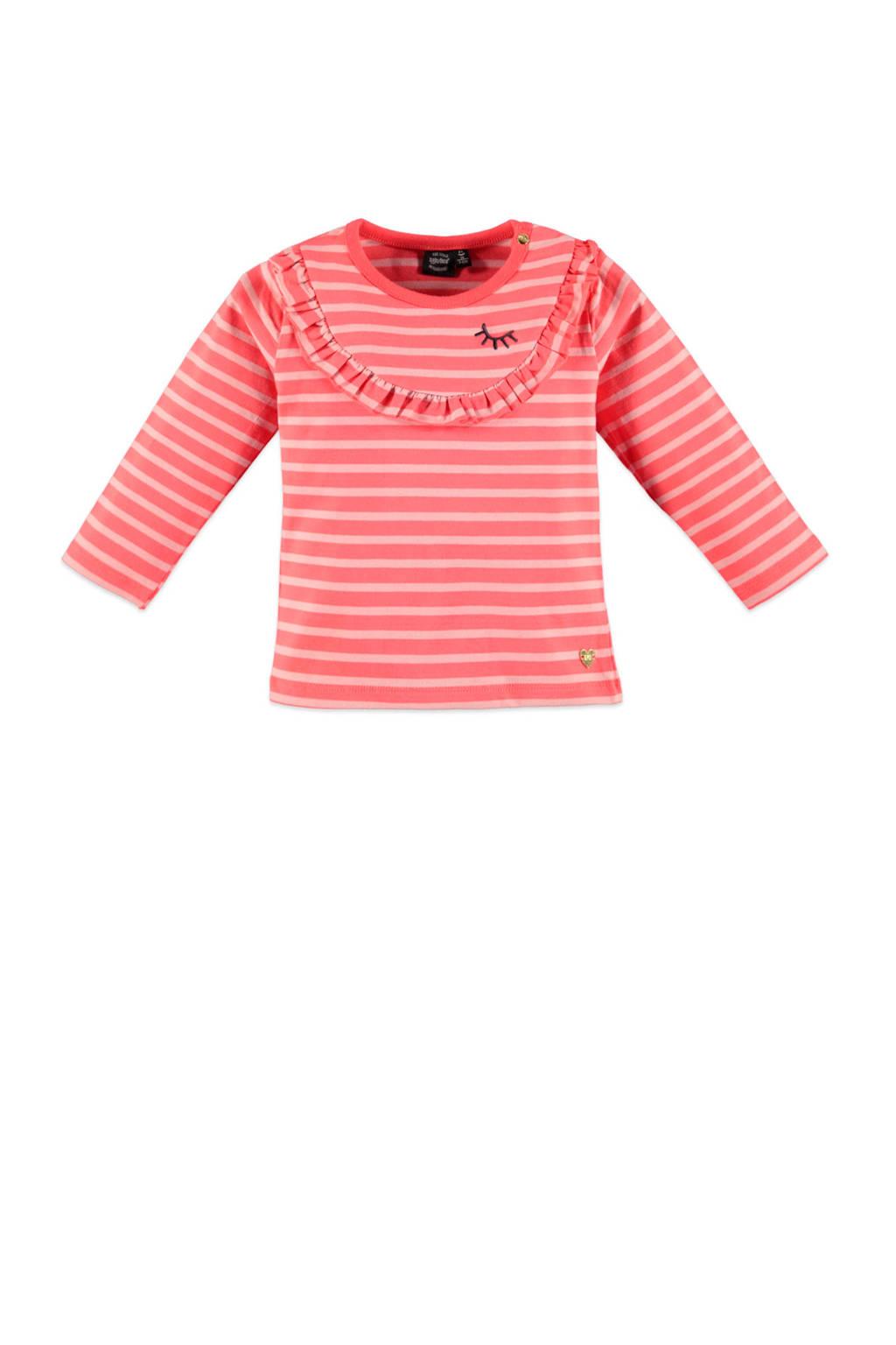 Babyface gestreepte longsleeve roze/lichtroze, Roze/lichtroze