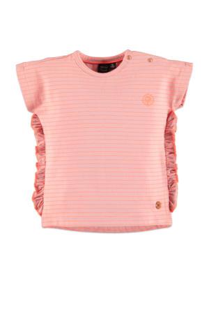 gestreept regular fit T-shirt roze