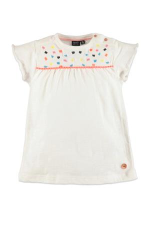 regular fit T-shirt met printopdruk en borduursels ecru