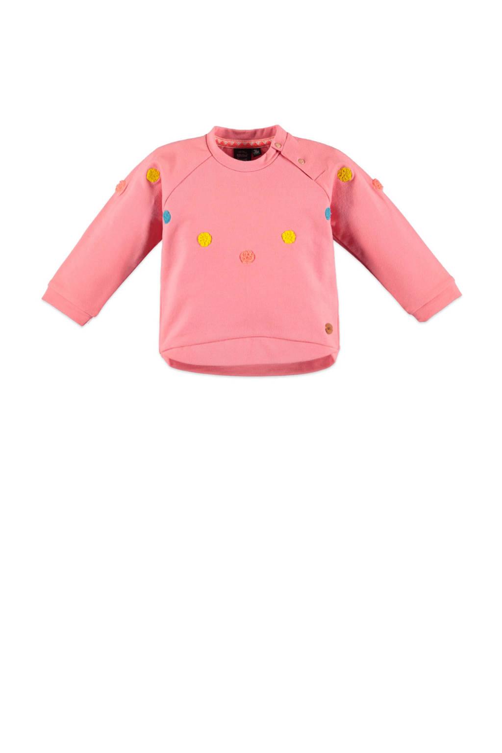 Babyface sweater met all over print en 3D applicatie roze/geel/blauw, Roze/Geel/Blauw