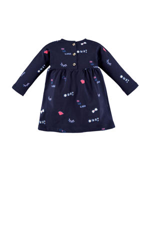 jersey jurk met all over print en plooien donkerblauw