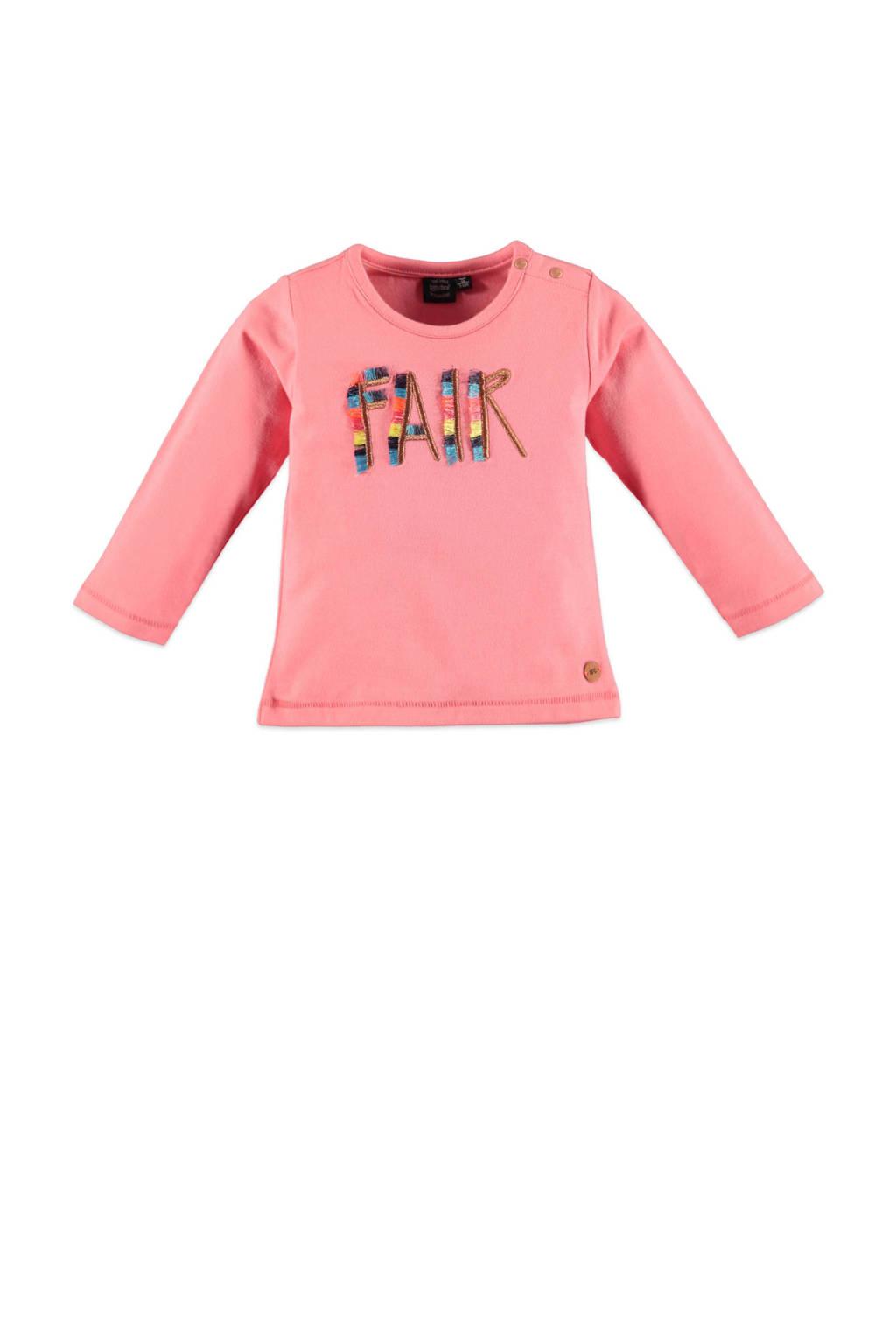 Babyface longsleeve met tekst en borduursels roze, Roze