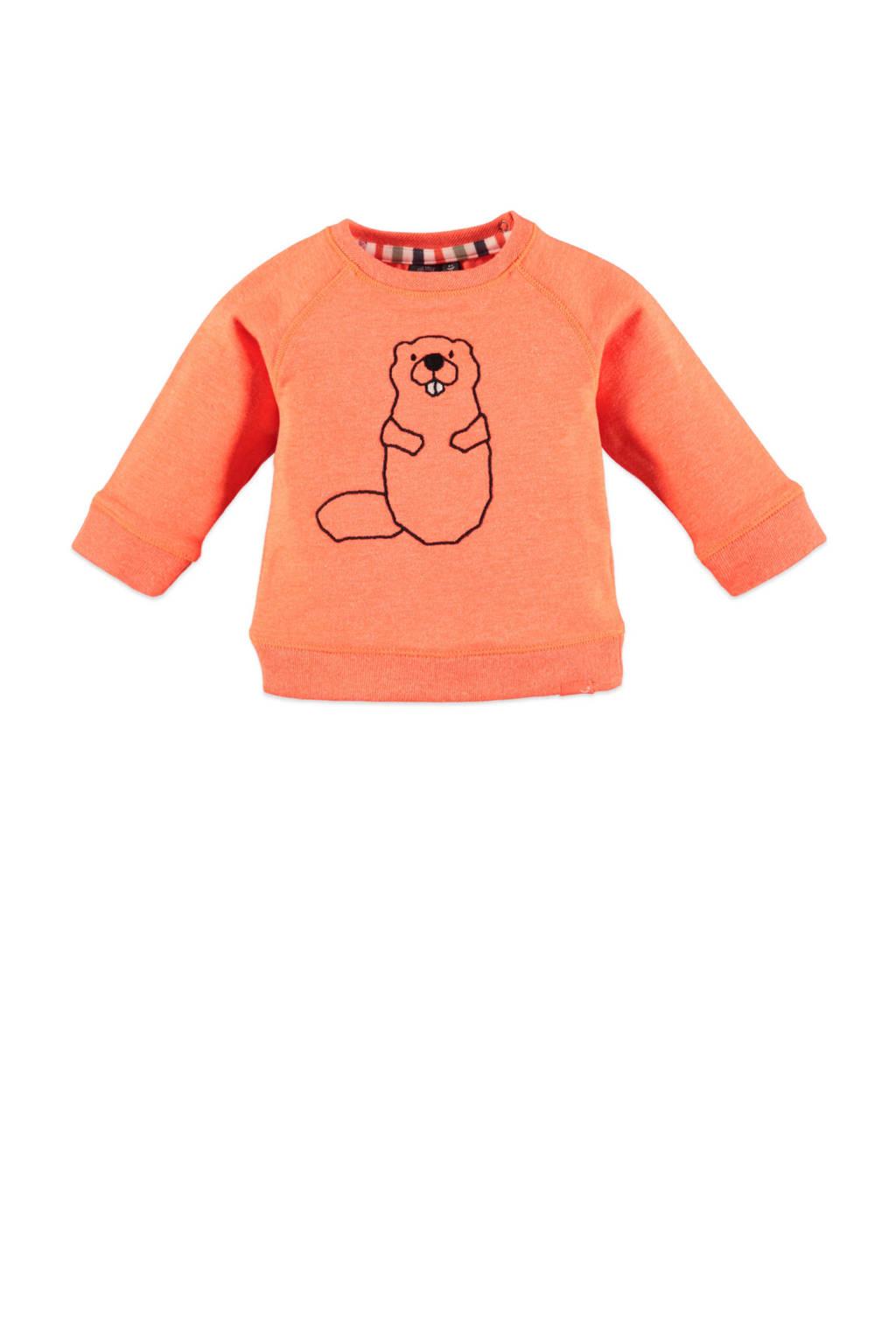 Babyface fleece sweater met printopdruk oranje, Oranje