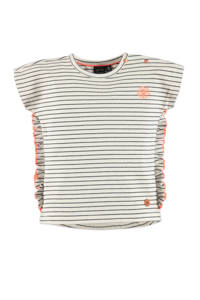 Babyface gestreept regular fit T-shirt ecru/zwart/oranje, Ecru/zwart/oranje