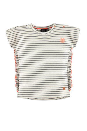 gestreept regular fit T-shirt ecru/zwart/oranje