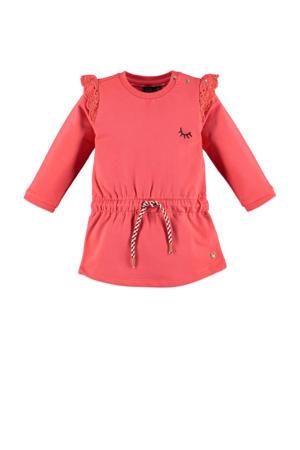 fleece jersey jurk met ruches roze
