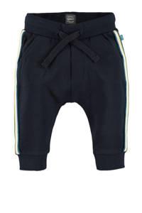 Babyface baby fleece broek met zijstreep donkerblauw/wit/groen, Donkerblauw/wit/groen