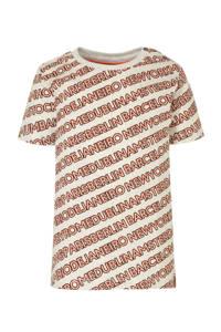 Babyface regular fit T-shirt met all over print ecru/rood/zwart, Ecru/rood/zwart