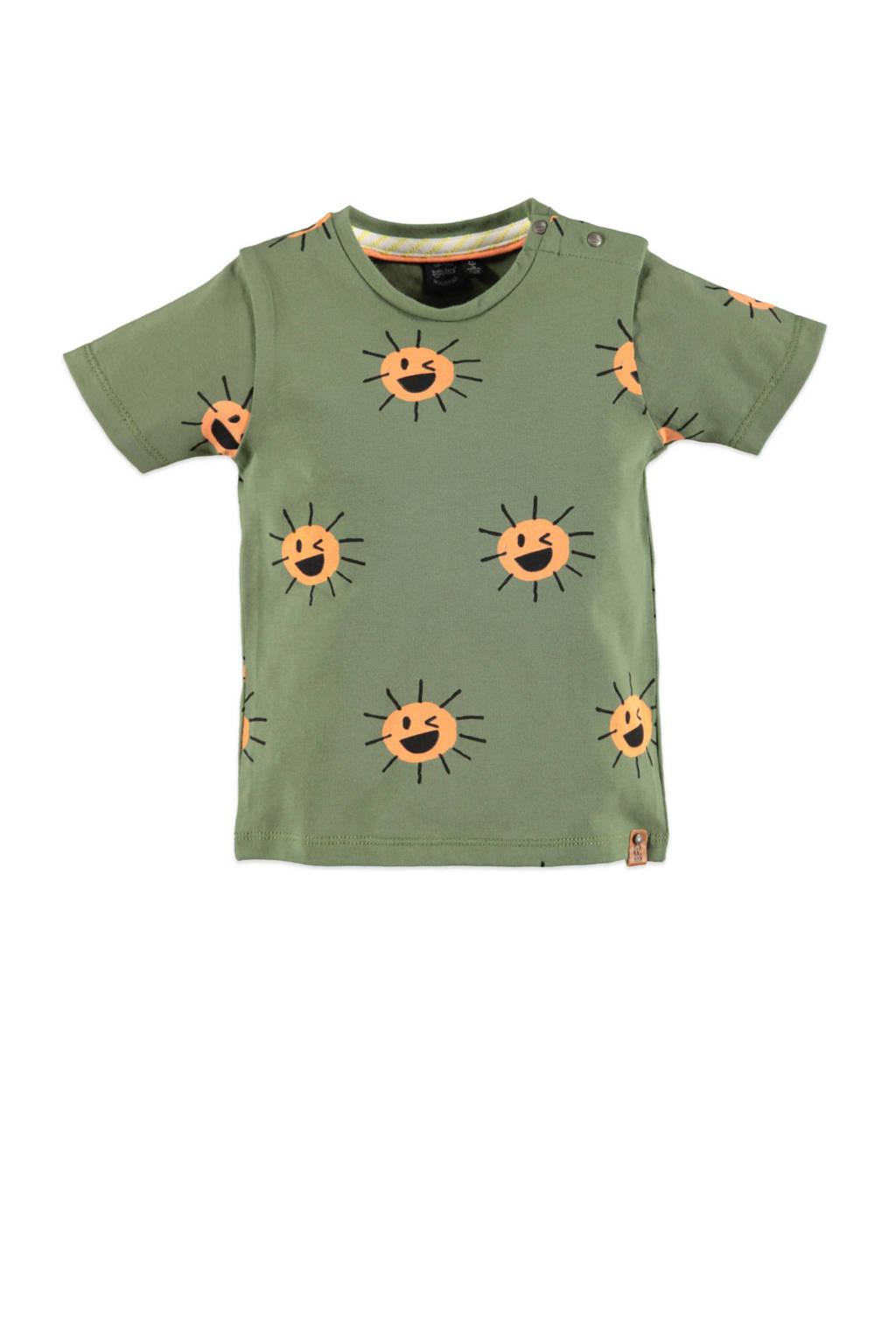 Babyface regular fit T-shirt met all over print groen/geel, Groen/geel