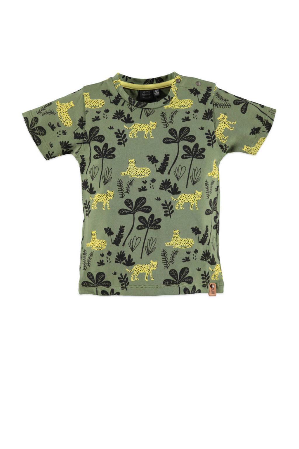 Babyface regular fit T-shirt met all over print groen/geel/antraciet, Groen/geel/antraciet