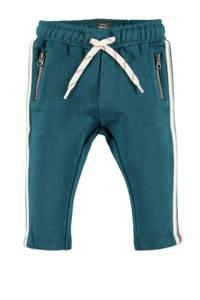 Babyface fleece regular fit broek petrol/wit/groen, Petrol/wit/groen
